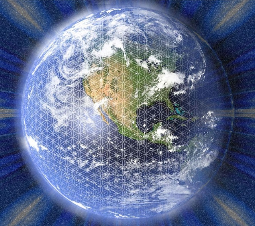 the Flower of Life grid encompassing the planet