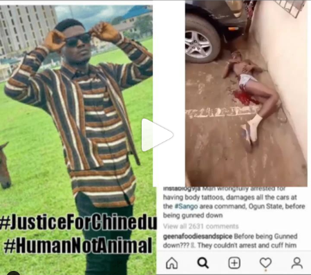 Ogun State Police Officers Seen Taking Singer Zinquest's Pictures As He Bled To Death After Shooting Him For Protesting His Wrongful Arrest (Video)