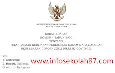 Surat Edaran Nomor 4 Tahun 2020 tentang Pelaksanaan Kebijakan Pendidikan dalam masa darurat penyebaran virus Coron