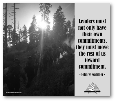 Leaders must not only have their own commitments, they must move the rest of us toward commitment. - John W. Gardner  [Photo credit: Plumas IHC]