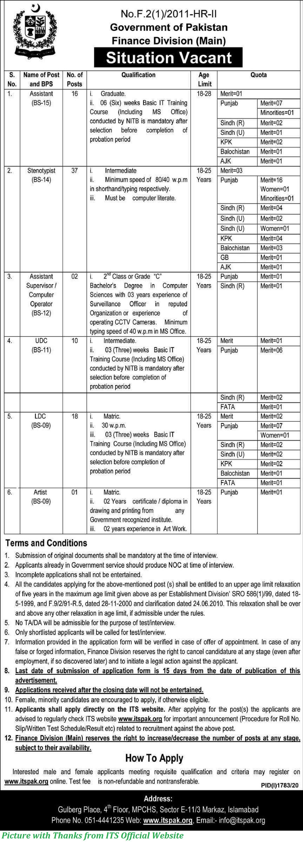 Finance Division Ministry of Finance Jobs 2020 - Latest Jobs in Finance Division 2020 Apply Online