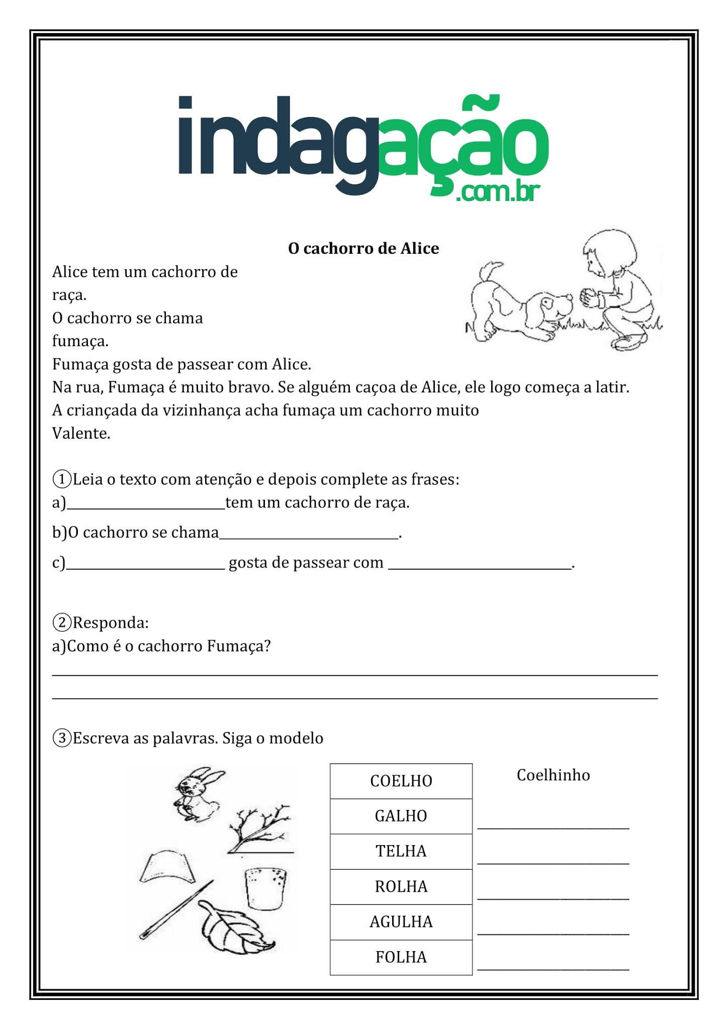 Atividade de Português 2º Ano: Grau do Substantivo, Aumentativo e Diminutivo - Ensino Fundamental