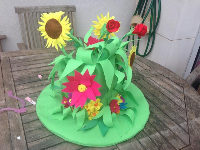 felt flowers hat handmade