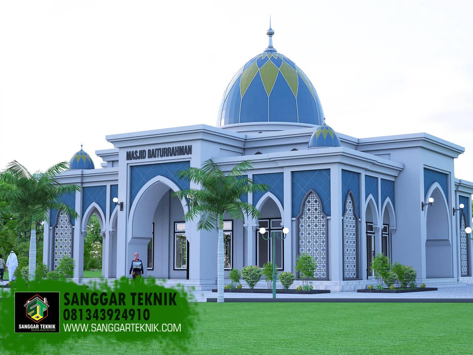 Desain Masjid Minimalis Modern 15x15 1 Lantai Termasuk Teras Sanggar Teknik Masjid minimalis modern