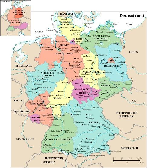 Karte Von Deutschland Stadt Regionalen Politisch