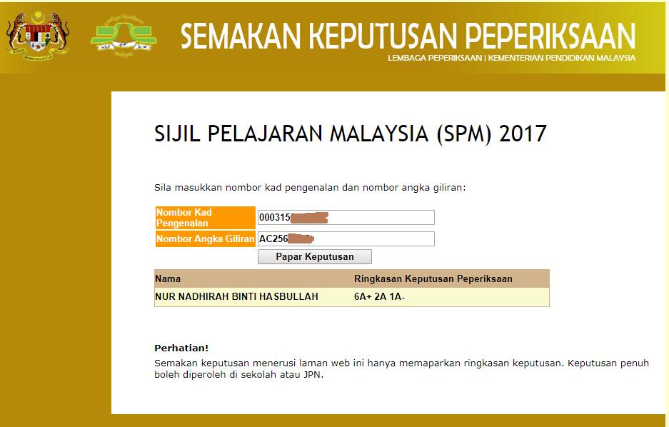Naddy S Journey Semak Keputusan Spm 2017 Online