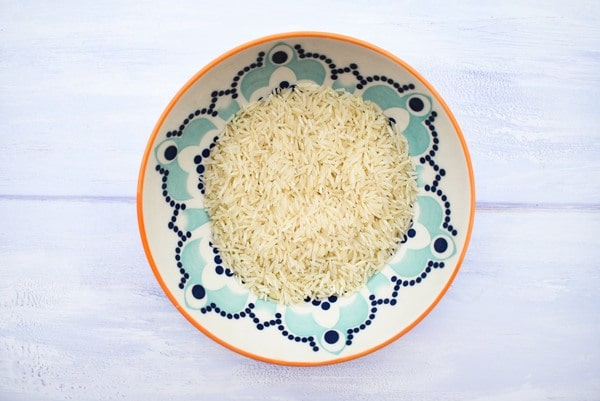 Basmati rice in a floral bowl