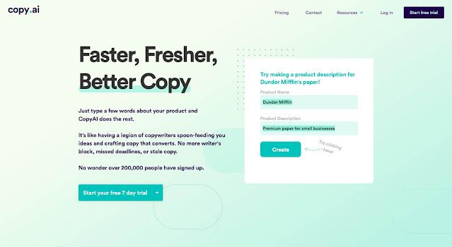 copy.ai copywriting tool