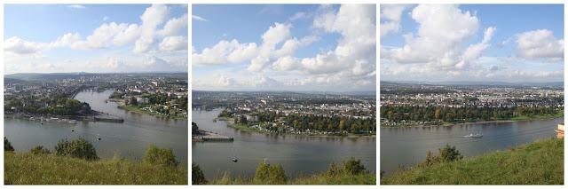 Roteiro pelo Rio Mosel (Alemanha) com vinícolas - Deutsches Eck visto da fortaleza Festung Ehrenbreitstein em Koblenz