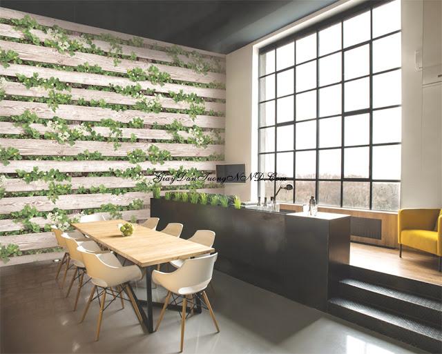 Giấy dán tường 3D họa tiết bụi cây