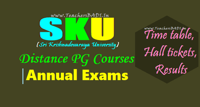 SKU CDE distance PG annual exams time table, hall tickets,results 2017