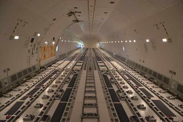 Cargo Space and Compartment Inside Boeing 777F Freighter of Lufthansa Cargo