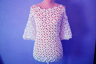 6 - CROCHET IMAGEN Blusa con mangas a crochet y ganchillo. MAJOVEL CROCHET
