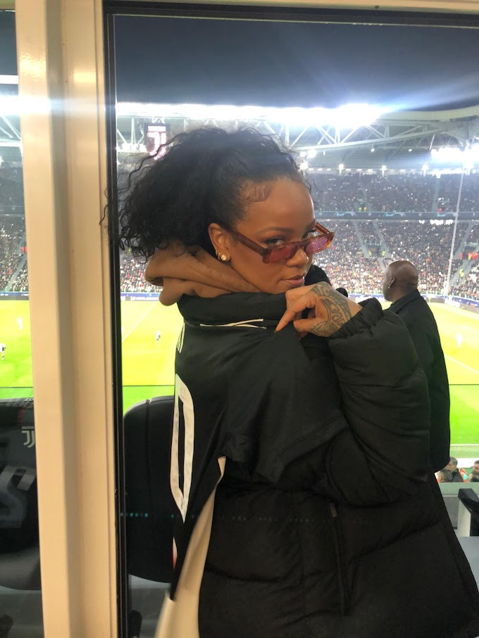 Rihanna pictured watching Cristiano Ronaldo & teammates in UEFA champions league clash against Atletico Madrid