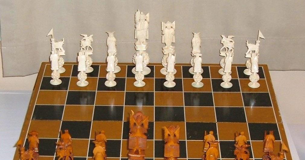 Asian oriental chinese hong tze ivory dragon chess set