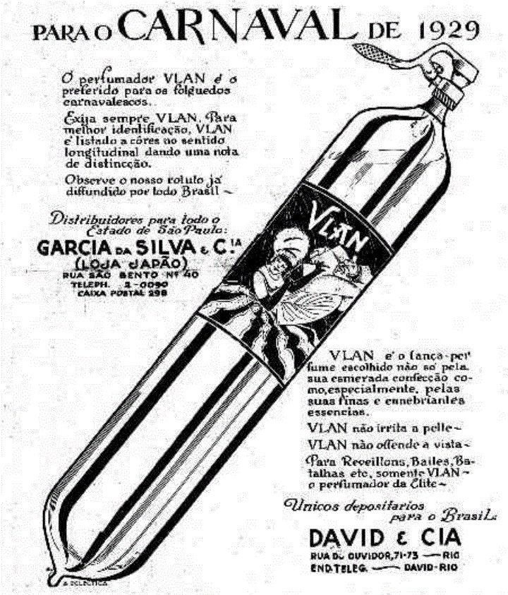 Propaganda antiga veiculada em 1929 promovia o lança-perfumes Vlan