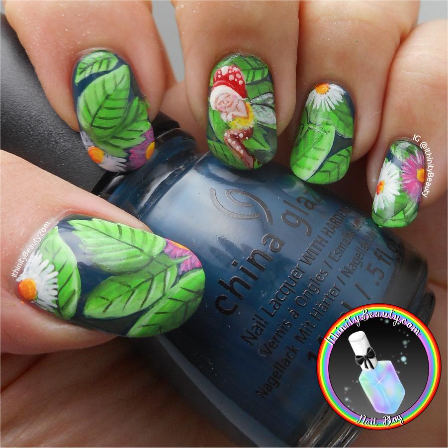 Freehand Sleepy Little Fairy Nail Art | IthinityBeauty.com Nail Art Blog