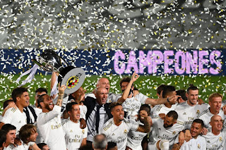 Real Madrid players celebrate being crowned 2019/20 Laliga title