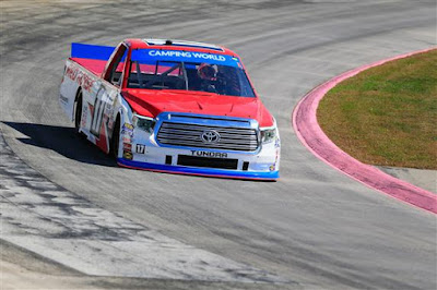 Timothy Peters, driver of the #17 Red Horse Racing Toyota, practices  for the NASCAR Camping World Truck Series Texas Roadhouse 200.