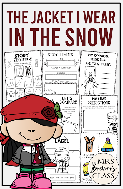 The Jacket I Wear in the Snow book study companion literacy activities perfect for a winter theme. Packed with fun ideas and hands on literacy activities. PreK-1st Common Core aligned. #thejacketiwearinthesnow #bookstudy #bookstudies #winteractivities #kindergarten #literacy #1stgrade #winter #winterbooks #kindergartenreading #1stgradereading #bookcompanion #bookcompanions #guidedreading #picturebookactivities