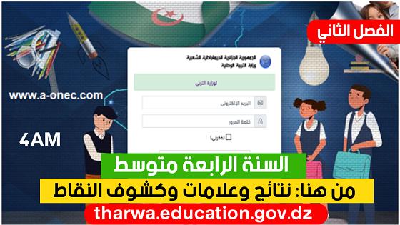 نتائج كشف نقاط الفصل الثاني عبر موقع فضاء أولياء التلاميذ 2021 - معدلات ونتائج tharwa.education.gov.dz - السنة الرابعة متوسط