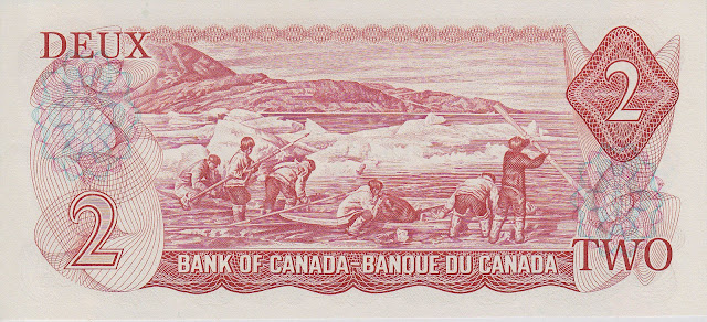 Canada 2 Dollars banknote 1974 Inuit family preparing their kayaks for a hunt, photograph of Joseph Idlout
