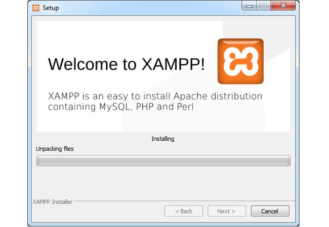 setup Loading Welcome To XAMPP