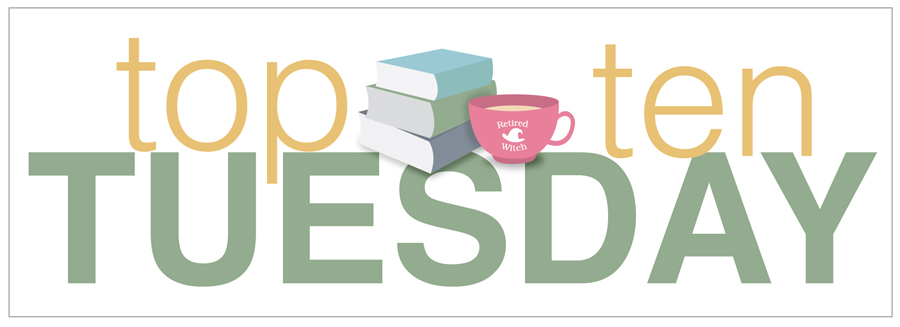 Top Ten Tuesday badge with books and a cup of tea