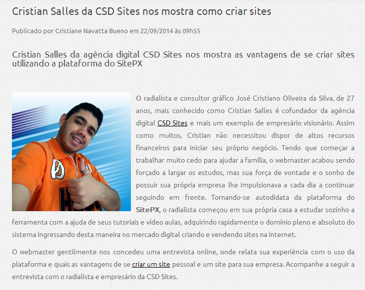 Cristian Salles da agência digital CSD Sites nos mostra as vantagens de se criar sites utilizando a plataforma do SitePX.