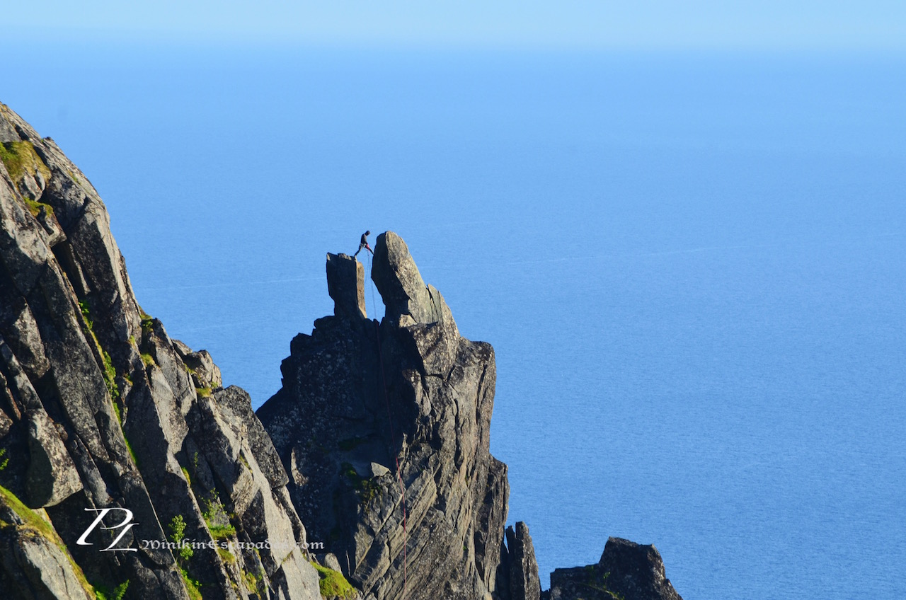 A climber touting the pinnacles of Svolvaer's famous rocks