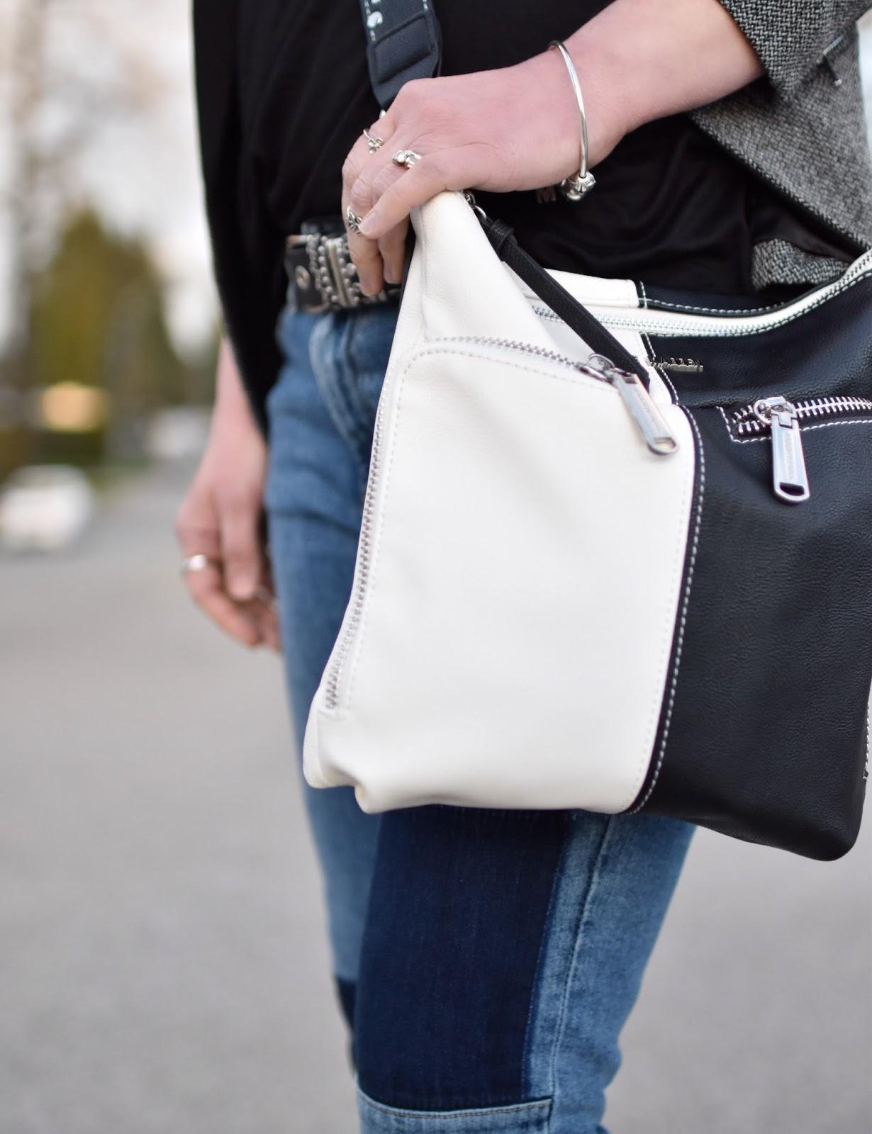Monika Faulkner outfit inspiration - Steve Madden colour-blocked cross-body bag