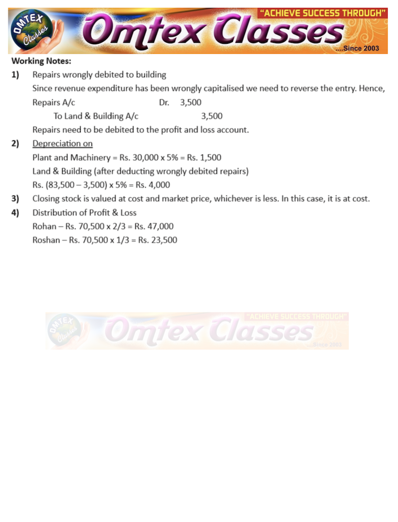 HSC FINAL ACCOUNT PROBLEM NO. 3