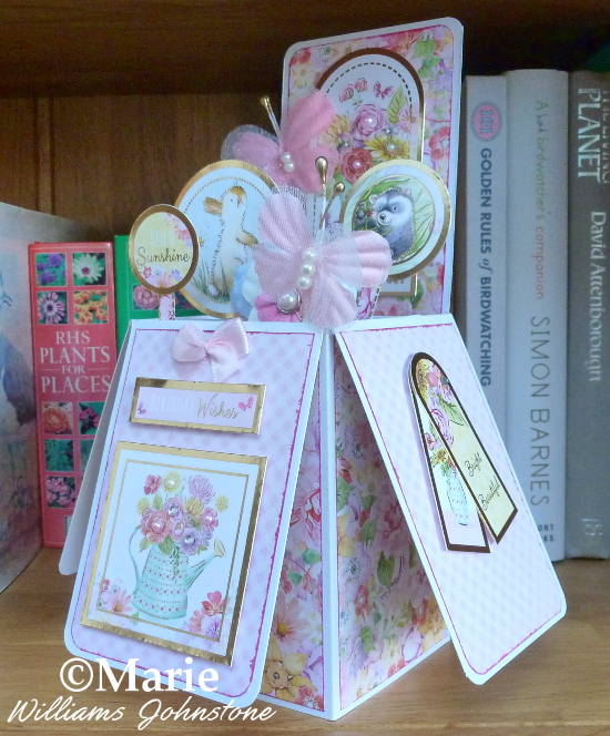 Finished completed handmade pop up birthday box card pink spring design