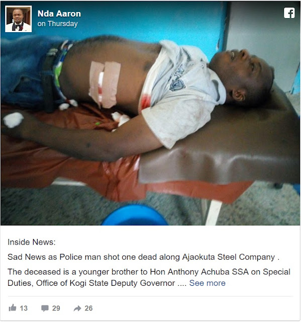 Christmas Tragedy: Police Officer Allegedly Kills Kogi State Deputy Governor's Brother at a Checkpoint