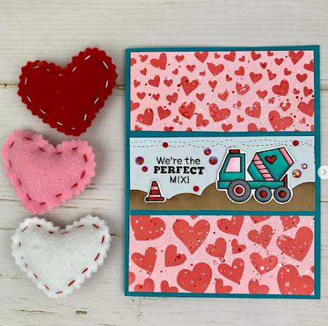 We're the perfect mix by Meghan Kennihan features Tumbling Hearts and Love Quarry by Newton's Nook Designs; #newtonsnook, #inkypaws, #cardmaking, #valentinescards
