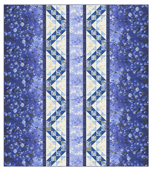 Fields Of Blue - Stairway To Heaven Quilt designed by  Shelly Pagliai for Timeless Treasures Fabrics