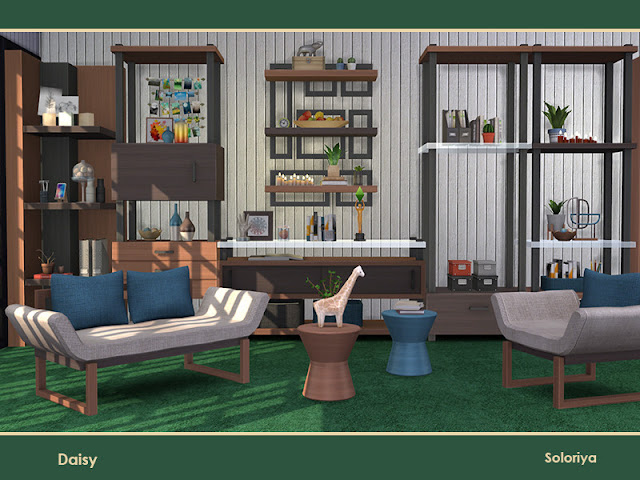 Дэйзи для The Sims 4 Набор мебели для гостиных. Включает в себя 10 объектов, имеет 2 цветовые палитры. Предметы в наборе: - диваечик, - кресло, - два стола декоративных, - четыре стеллажа, - полка, - кофе1ный столик. Автор: soloriya