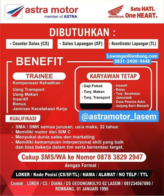 Lowongan Kerja Counter Sales, Sales Lapangan, Koordinator Lapangan Astra Motor Honda Lasem Rembang