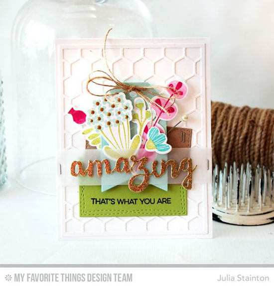 Handmade card from Julia Stainton featuring Amazing stamp set, Fall Florals stamp set and Die-namics, Doubly Amazing, Stitched Traditional Tag STAX, Tag Builder Blueprints 2, and Wonky Stitched Rectangle STAX Die-namics #mftstamps