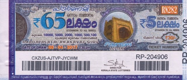 Kerala lottery result official copy of Pournami_RN-279