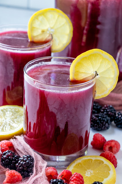 This refreshing and delicious sparkling summer lemonade is perfect for picnics, BBQ's or parties! Add some wine or vodka for a fun adult beverage! Try different berries for a new flavor every time!