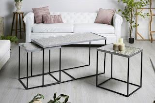 juego de mesas centro aluminio estilo moderno