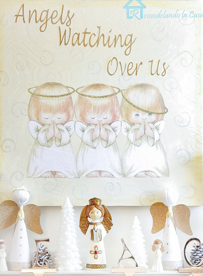 three little angels wall art - Christmas mantel - fireplace - white