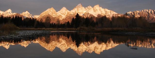 a panorama of Grand Teton National Park