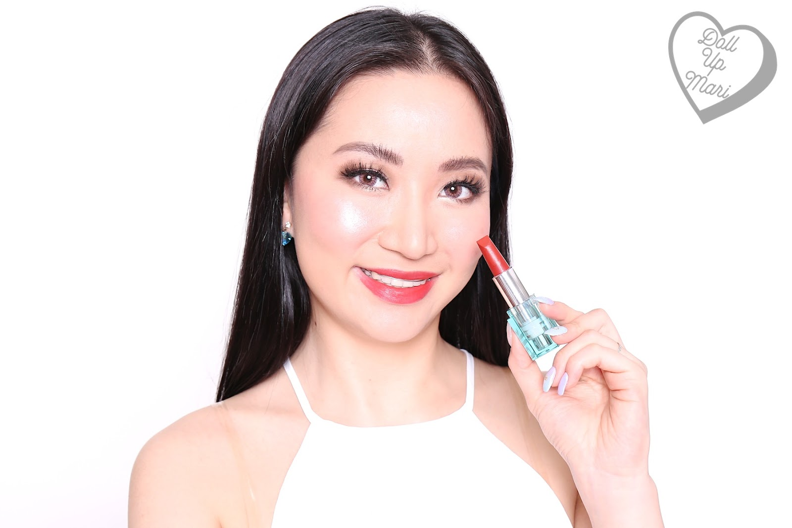 Marilene wearing red side of BLK Cosmetics K-Beauty K-Drama All-Day Intense Matte Lipstick in the shade of Dandelion