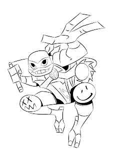 desenho para colorir e imprimir Michelangelo rise of the teenage mutante ninja turtles