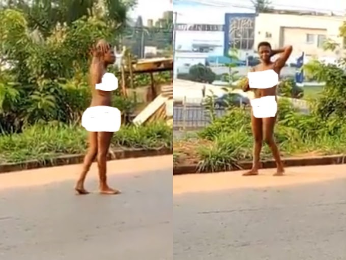 Young Lady Runs Mad In Awka, Anambra State, Seen Naked In The Street