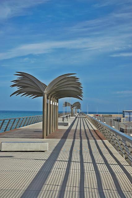 molo w Alicante w Hiszpanii, sztuczne palmy