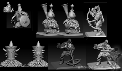 Pictures of early stretch goal work on poses and hats