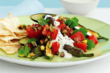 Eggplant, pistachio and tomato salad recipe
